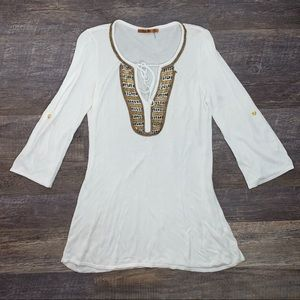 Belldini white & gold long sleeve beaded knit top